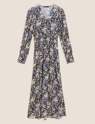 Animal Print V-Neck Midi Waisted Dress