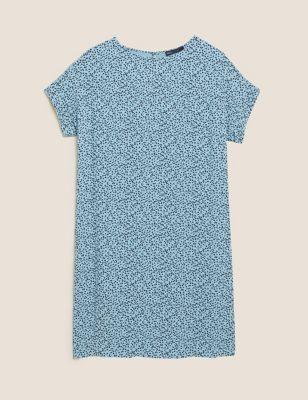 Printed Short Sleeve Shift Dress