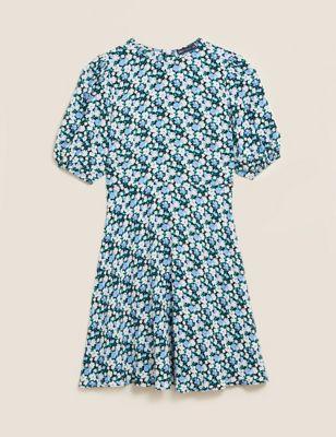 Floral Puff Sleeve Mini Tea Dress