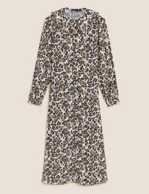 Animal Print Collared Midi Shirt Dress
