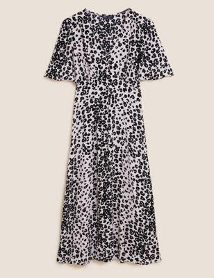 Animal Print Angel Sleeve Midi Tea Dress