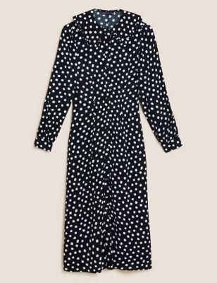 Polka Dot Collared Midi Shirt Dress
