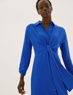 Tie Front Midi Shirt Dress