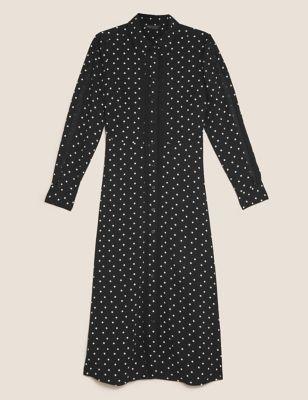 Polka Dot Lace Insert Midi Shirt Dress