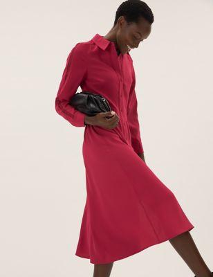 Lace Insert Midi Shirt Dress
