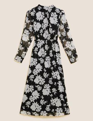 Floral High Neck Midi Waisted Dress