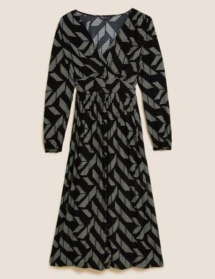 Geometric V-Neck Midi Tea Dress