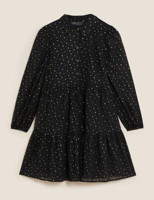 Petite Foil Star Print Shirt Dress