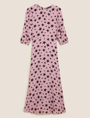 Star Print Round Neck Midaxi Tea Dress