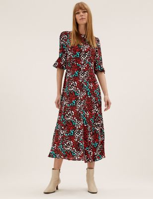 Animal Print Midaxi Tea Dress