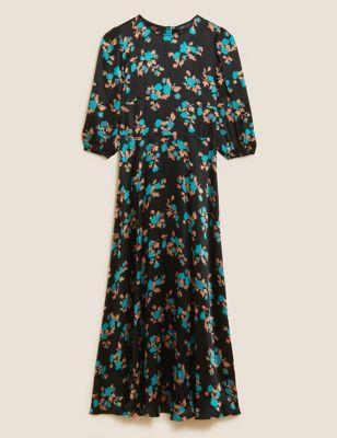Satin Floral Midaxi Tea Dress