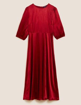 Satin Puff Sleeve Midaxi Tea Dress