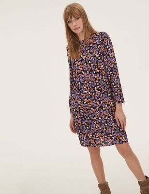 Floral Puff Sleeve Knee Length Shift Dress