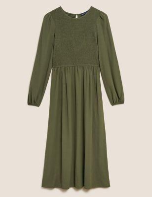 Shirred Midi Smock Dress