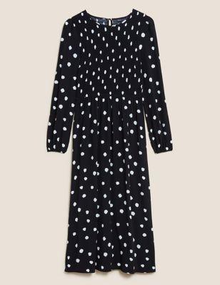 Polka Dot Shirred Midi Smock Dress