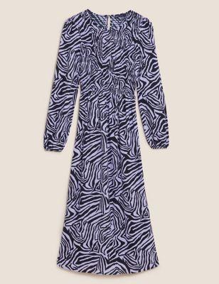 Animal Print Shirred Midi Smock Dress