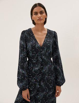Star Print Button Through Midi Tea Dress
