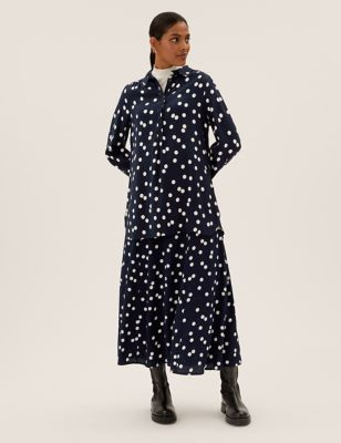 Polka Dot Midi A-Line Skirt