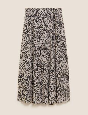 Animal Print Midaxi A-Line Skirt
