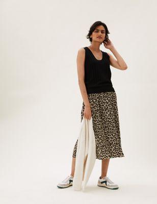 Animal Print Plisse Midaxi A-Line Skirt