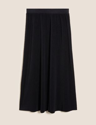 Plisse Midaxi A-Line Skirt