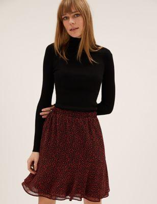 Printed Mini Tiered Skirt