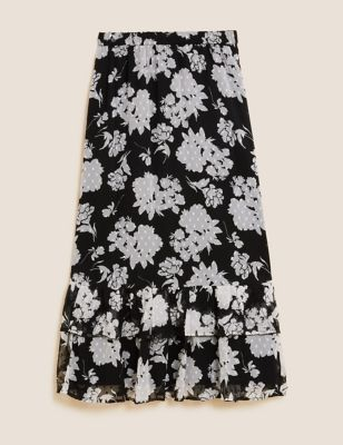 Floral Tiered Midaxi Skirt
