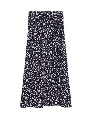 Polka Dot Midaxi A-Line Skirt