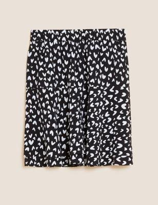 Heart Print Mini Tiered Skirt