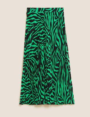 Animal Print Pleated Midaxi Skirt