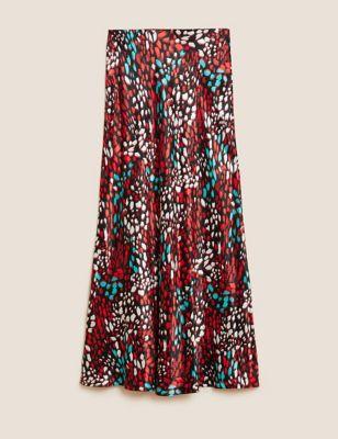 Satin Animal Print Midaxi Slip Skirt
