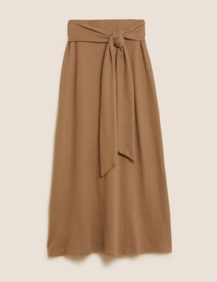 Cotton Belted Midaxi A-Line Skirt
