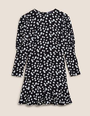Ditsy Floral Puff Sleeve Mini Tea Dress