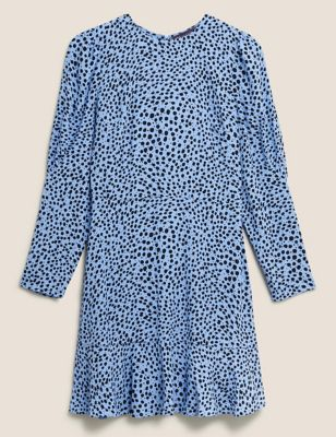 Polka Dot Puff Sleeve Mini Tea Dress
