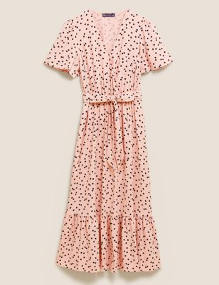 Polka Dot Angel Sleeve Midi Wrap Dress