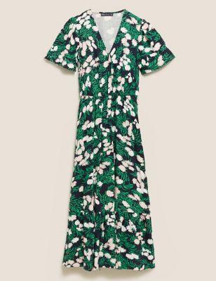 Floral Angel Sleeve Midi Wrap Dress