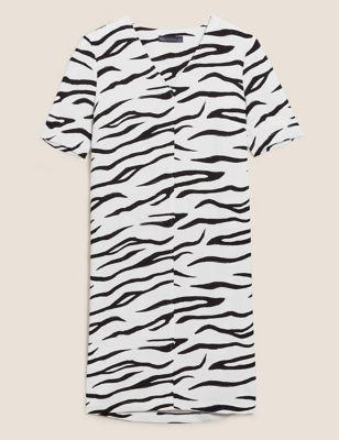 Zebra Print V-Neck Knee Length Shift Dress