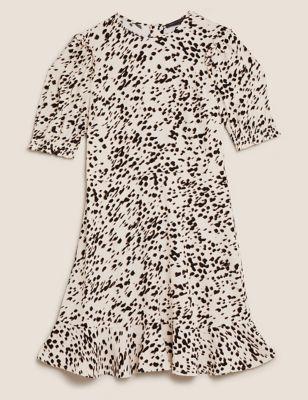 Animal Print Frill Detail Mini Tea Dress