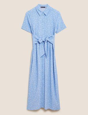 Printed Tie Front Midaxi Shirt Dress