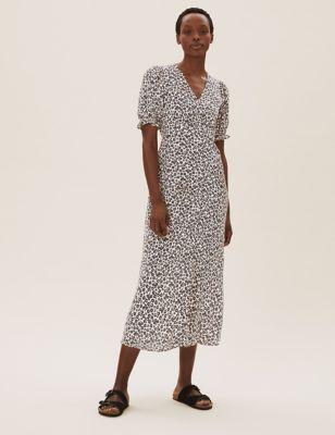 Floral V-Neck Puff Sleeve Midi Tea Dress