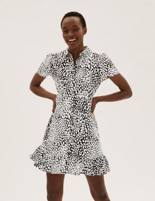Animal Print Frill Detail Mini Shirt Dress