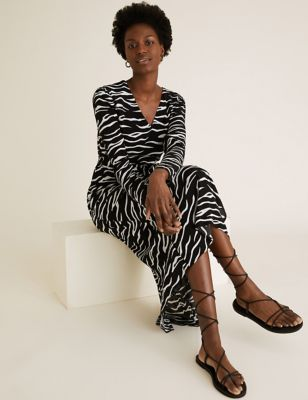 Animal Print Puff Sleeve Belted Midi Dress