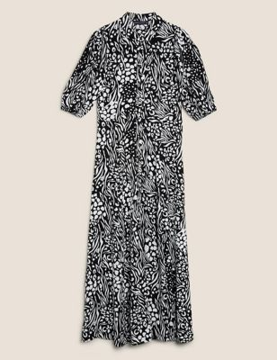 Animal Print Puff Sleeve Midaxi Shirt Dress