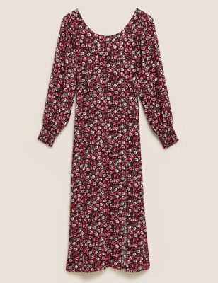 Floral Round Neck Midaxi Waisted Dress
