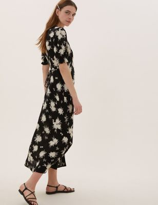 Floral V-Neck Short Sleeve Midi Tea Dress