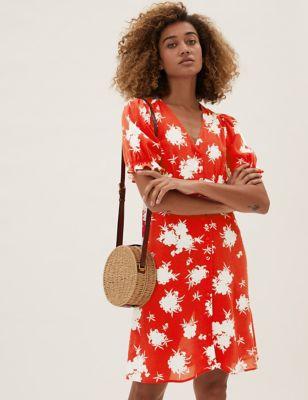 Floral V-Neck Short Sleeve Mini Tea Dress