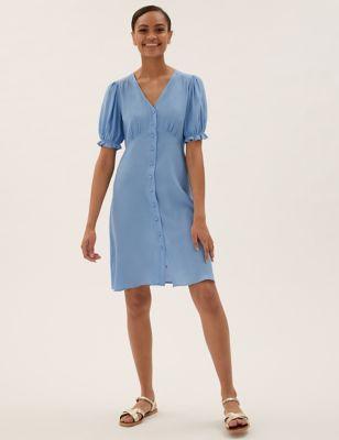 V-Neck Puff Sleeve Mini Tea Dress