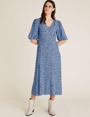 Printed V-Neck Midi Tea Dress