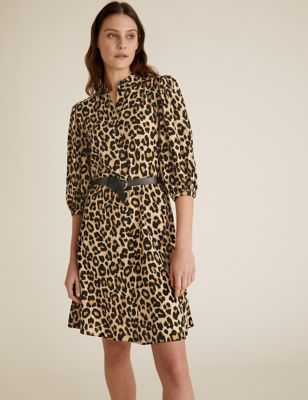 Animal Print Collared Swing Dress