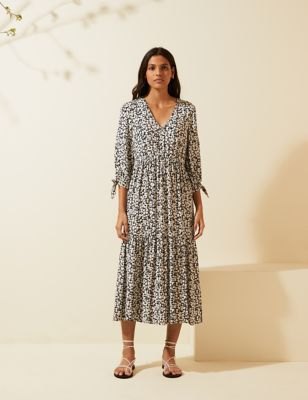 Floral V-Neck Tie Sleeve Midi Dress